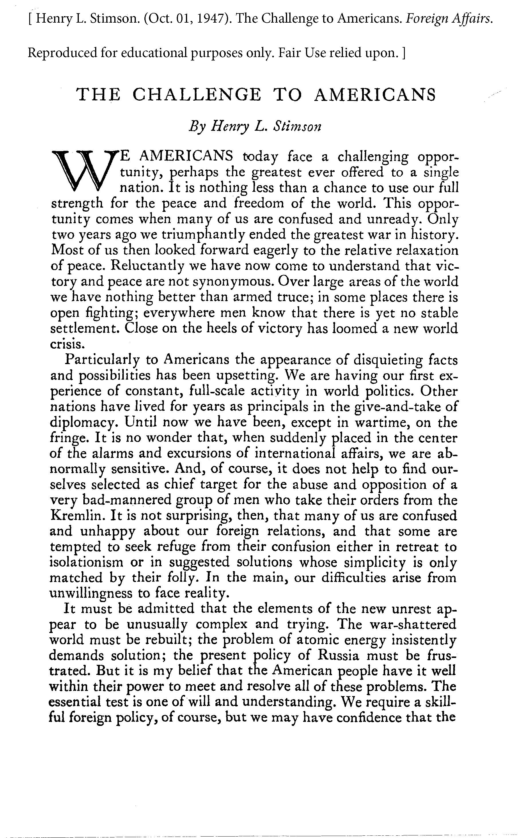 Pages from 1947-10-01-The-Challenge-to-Americans-by-Henry-L-Stimson-Foreign-Affairs-Oct-01-1947