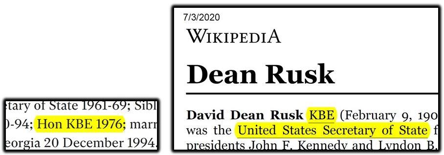 dean rusk knighthood